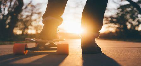 Teen with skateboard