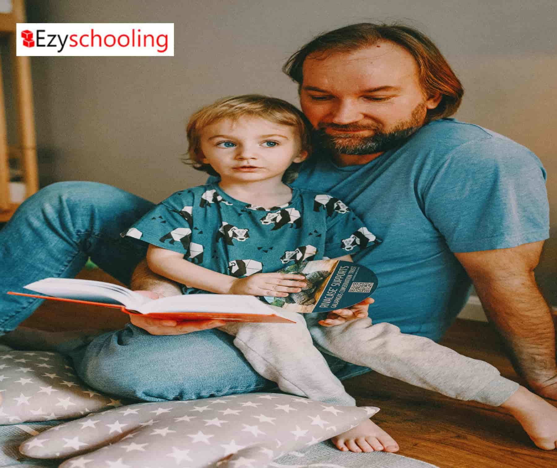 father teaching kid