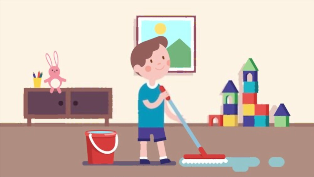 child doing household chores
