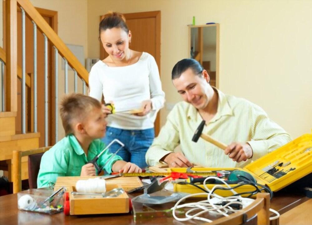 Children helping their parents