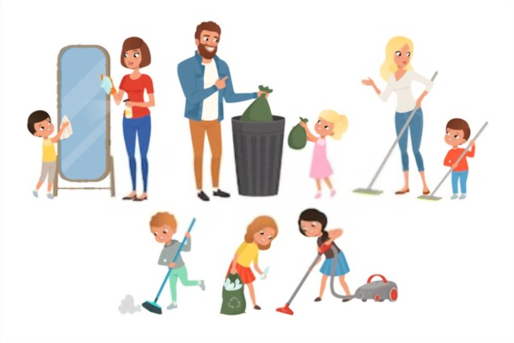 Children helping with household chores